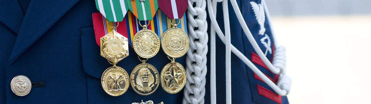 Close up of medals on military uniform