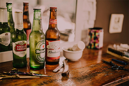 beer bottles on table