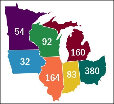 map showing number of deaths due to drug use in Midwest